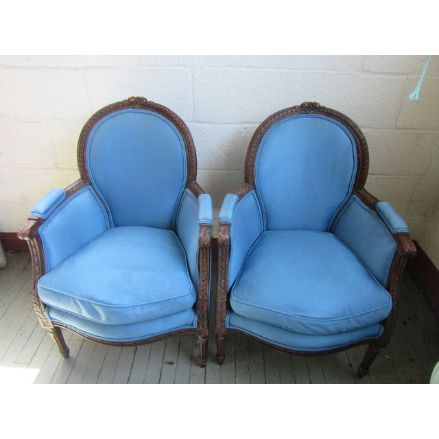 1940s Antique Petite French Blue Upholstery Carved Walnut Frame Fireside Chairs or Bergeres- a Pair For Sale - Image 13 of 13