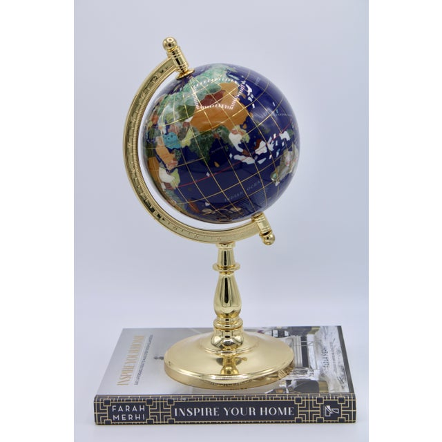 Vintage Blue Lapis World Gold With Semiprecious Gems on Brass Stand For Sale - Image 12 of 13
