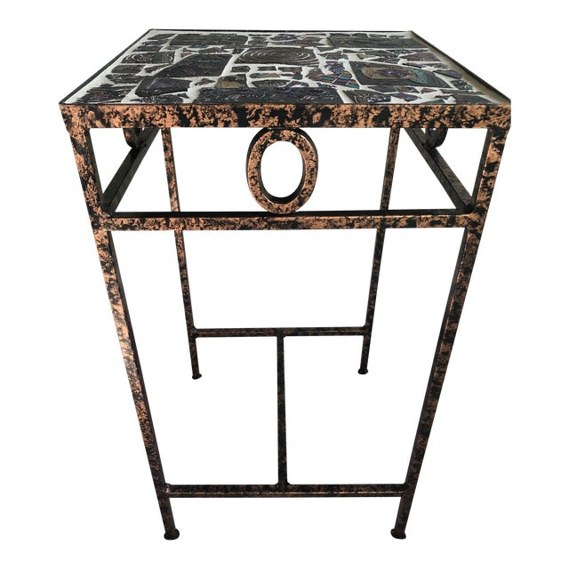 Tile Mosaic Side Table For Sale