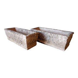 Mid 20th Century Concrete Woven Basket Style Planters - a Pair For Sale