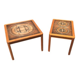 1970s Danish Modern Teak and Tile Artist Signed Side Tables - a Pair For Sale
