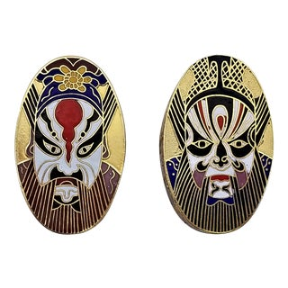 Chinese Cloisonne Kabuki Mask Trinket Boxes - a Pair - Asian Chinoiserie Hollywood Art Deco Palm Beach Boho Chic For Sale