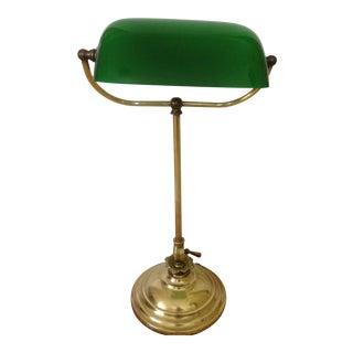 Antique Brass Banker's Desk Lamp