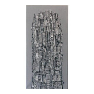 "Alexis Duque"" Silver Tower"" Nyc Buildings Reimagined Metropolis Acrylic Painting, 2014 For Sale"