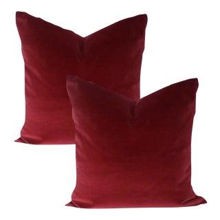 Red Velvet Pillows - A Pair For Sale