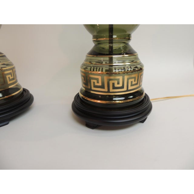 Pair of 1920's Hand Blown Glass Tall Vintage Lamps with Hand Painted Gold Greek Key Pair of 1920's hand-blown smoked glass...
