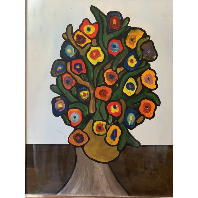 Abstract Vintage 1970's Abstract Original Flowers Oil Painting Signed Hawthorne For Sale - Image 3 of 10
