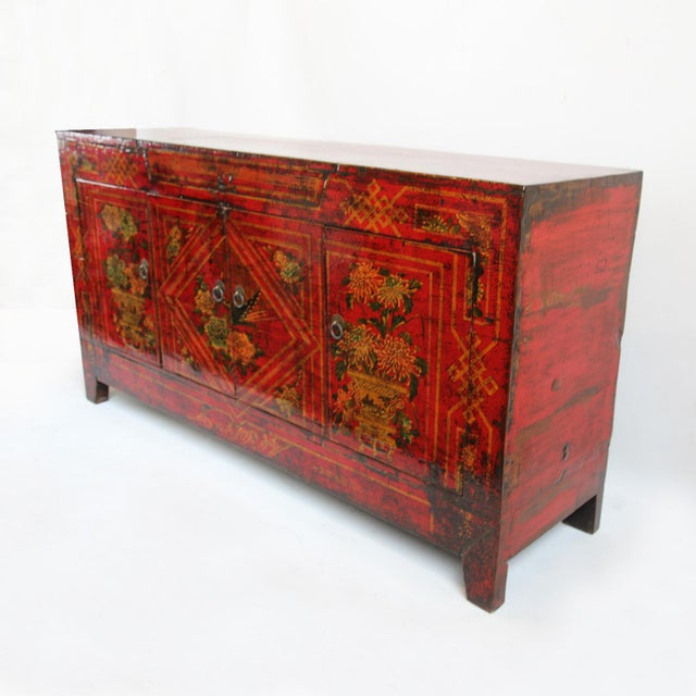 Mongolian Painted Red Sideboard - Image 3 of 4