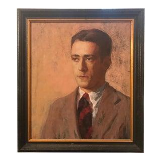 Vintage Gentleman Portrait Oil Painting For Sale