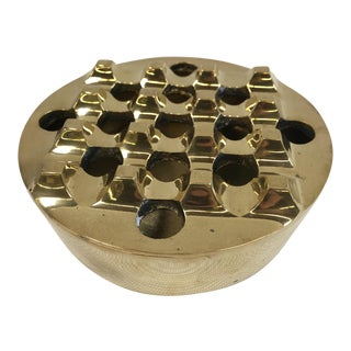 1970s Vintage Solid Brass Grid Top Ashtray