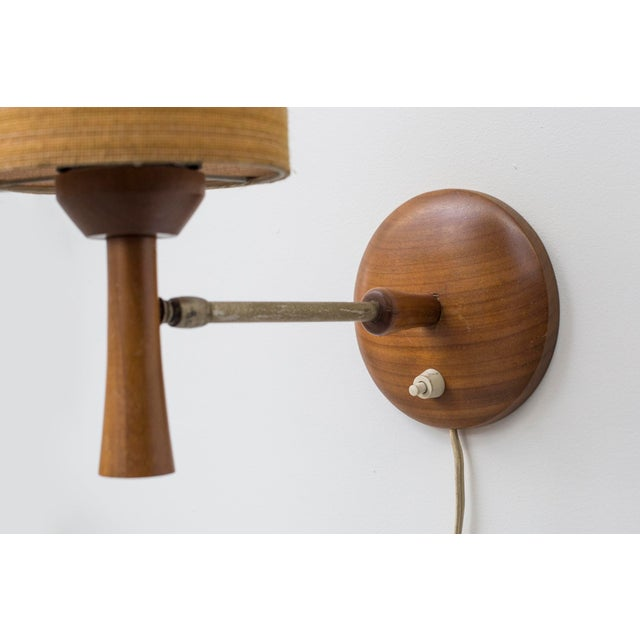 Mid-Century Teak and Brass Wall Lamp - Image 6 of 11