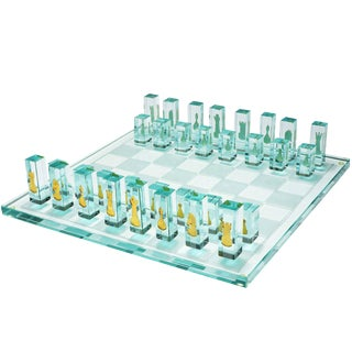 Kiln-Formed Art Glass Chess Set with 24k Gold Game Pieces For Sale