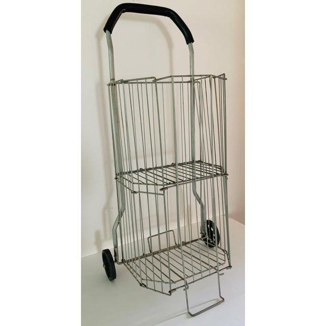 Vintage Metal Rolling Flea Market Shopping Basket Cart, Collapsible 1950s For Sale - Image 4 of 8