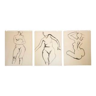 1960s Watercolor Woman Figures by Bevington/3 For Sale