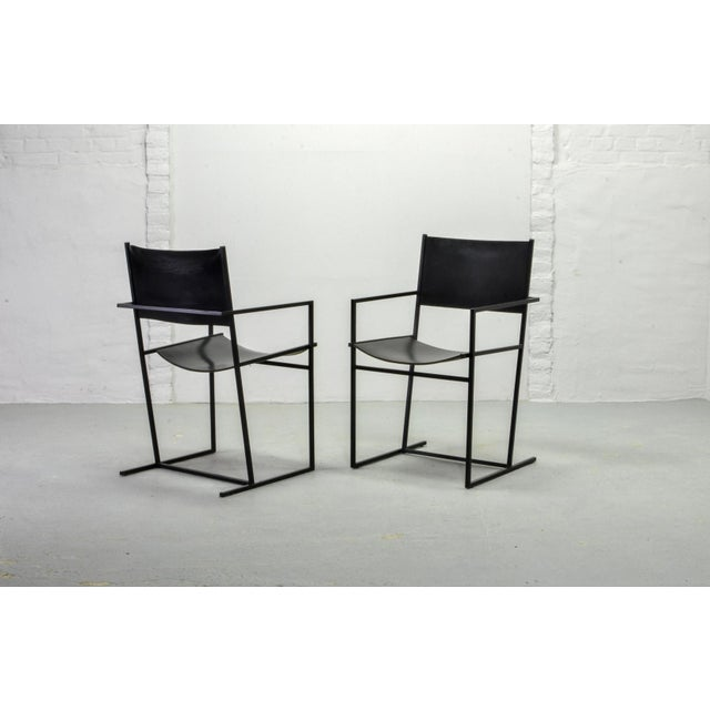 Set of Two Mid-Century Dutch Design Black Leather and Metal Dining Chairs Ag-6 by Albert Geertjes, the Netherlands, 1984 For Sale - Image 11 of 11