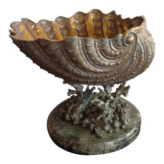 Maitland-Smith Gilt Brass Shell Centerpiece on Dark Green Marble Base For Sale