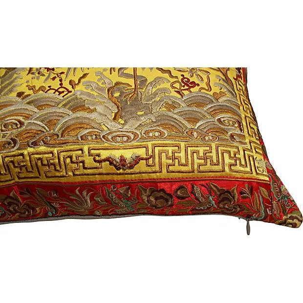 Gold Embroidered Silk Boudoir Pillow - Image 3 of 4