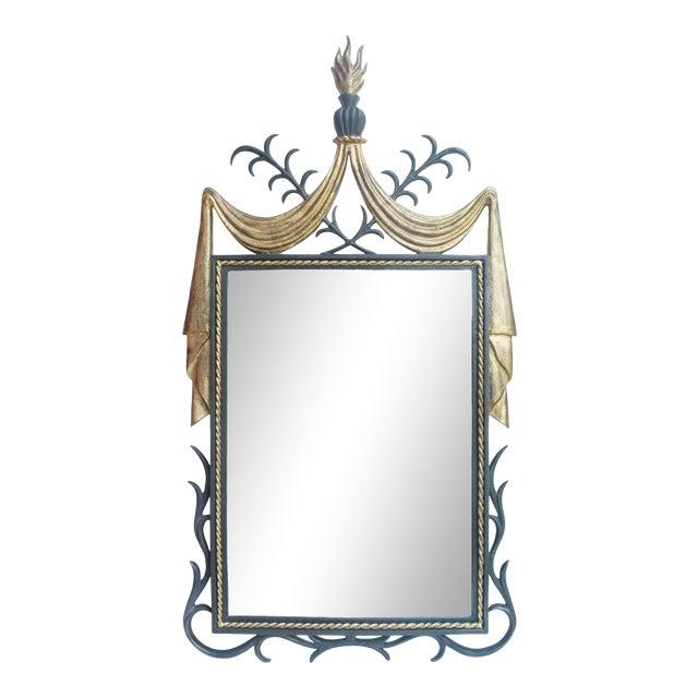 1950s Gilbert Poillerat-Style Iron & Gilt Wall Mirror For Sale