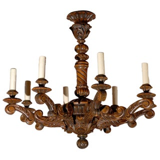 Antique Chandelier. Hand Carved French Wooden Chandelier For Sale