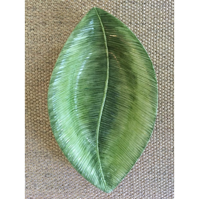 Cottage 1990s Large Vintage Italian Made, San Marco Ceramics, Banana Leaf Tray/Dish For Sale - Image 3 of 7