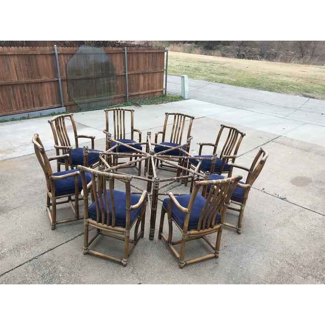 Boho Chic Monumental McGuire Dining Set - 9 Pieces For Sale - Image 3 of 13