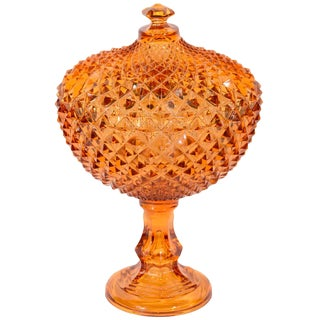 Exquisite Hollywood Regency Diamond Point Glass Footed Bowl in Amber, 1940's For Sale