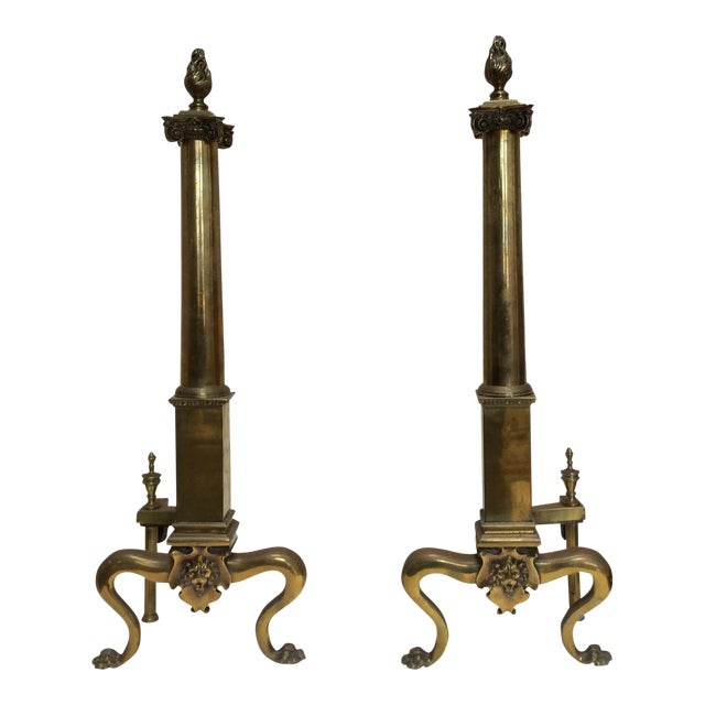 Antique English Fireplace Andirons - a Pair For Sale - Image 10 of 10