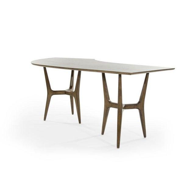 Mid-Century Modern Asymmetrical Walnut Desk For Sale In New York - Image 6 of 13