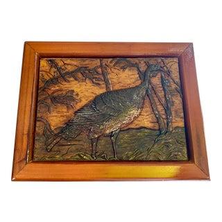 Wooden Vintage Hand Carved Turkey Box Huntsmen Style For Sale