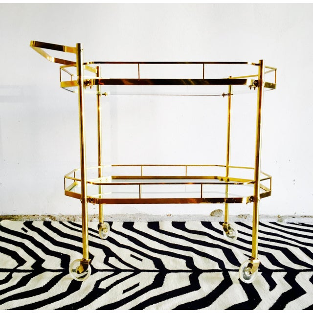 1960's French Brass Bar Cart - Image 3 of 6