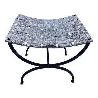Steel & Iron Crocodile Pattern Stool For Sale