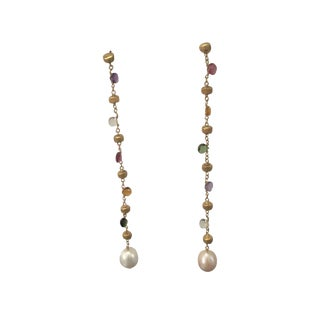 Marco Bicego Long Paradise 18k Gold Gemstone Pearl Earrings - a Pair For Sale