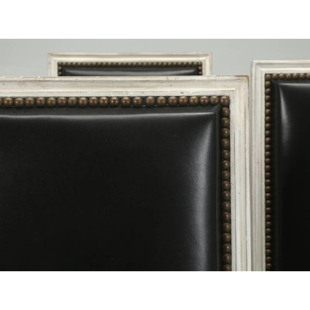 French French Louis XVI Style Dining Chairs in Black Leather and Distressed White Paint - Set of 6 For Sale - Image 3 of 12