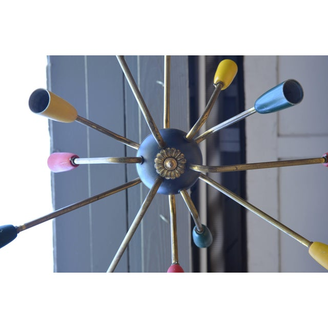 1950s Multi Colored Brass Stem Chandelier For Sale - Image 4 of 5