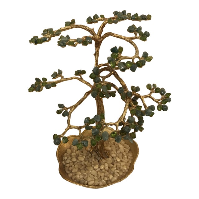Mid-Century Modern Agate Bonsai Tree in Gold Dish - Image 1 of 10