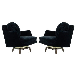 Brass Accented Swivel Chairs by Edward Wormley for Dunbar, 1950s For Sale
