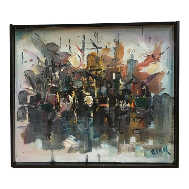 Vintage Mid Century Modern Abstract Expressionist Oil Painting For Sale