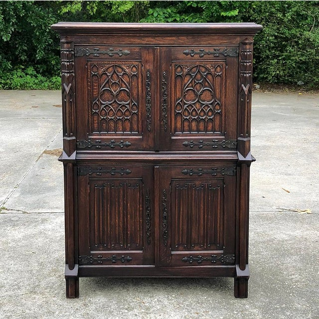 Antique French Gothic Cabinet For Sale - Image 4 of 12