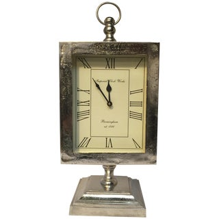 Large Silver Mantle Clock For Sale