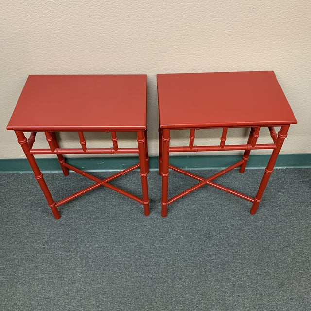 Mid-20th Century Red Faux Bamboo Accent Tables- a Pair For Sale - Image 4 of 8