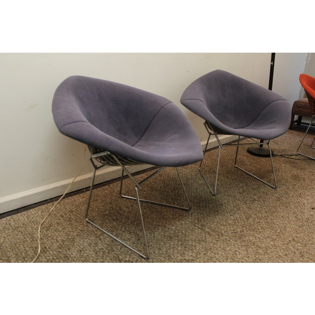Bertoia Mid-Century Blue Diamond Chairs - Pair - Image 3 of 11