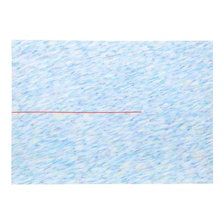 """Farid Haddad, """"Variation on a Red Line I"""", Minimalist Abstract Painting For Sale"""