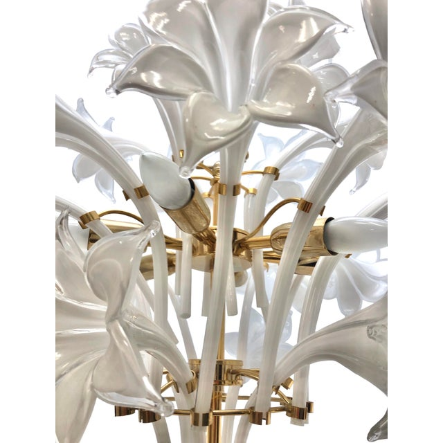 Brass and White Murano Lily Chandelier For Sale - Image 11 of 12