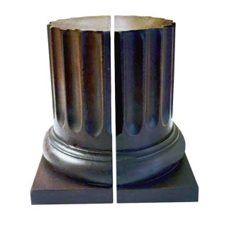 Vintage Neoclassical Solid Oak Architectural Fluted Column Form Bookends - a Pair For Sale