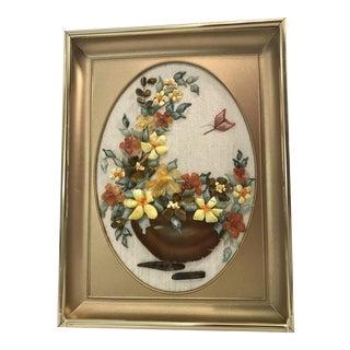 Vintage Framed 3d Rock Agate Floral Picture