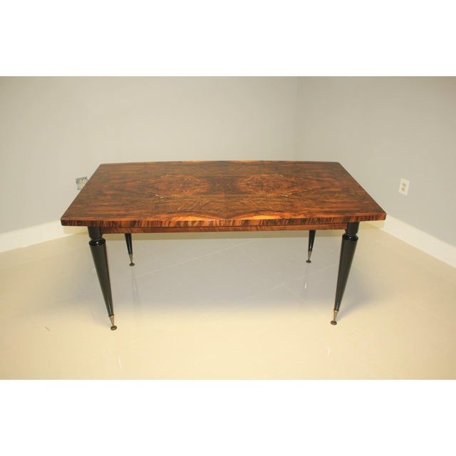 Art Deco 1940s French Art Deco Exotic Burl Walnut Writing Desk / Dining Table For Sale - Image 3 of 13