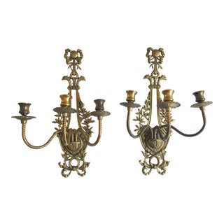 Pair of Brass Wall Sconces For Sale