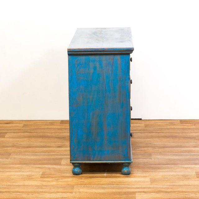 Reclaimed Peroba Rosa Wood Distressed Blue Chest of Drawers/Dresser - Image 6 of 8
