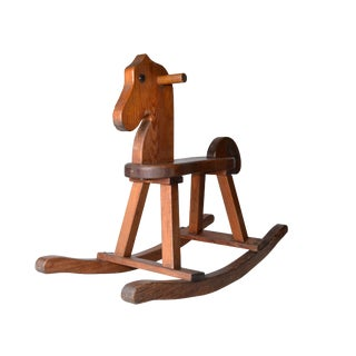 Birch Wood Mid-Century Modern Rocking Horse For Sale
