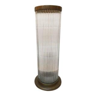 Sculptural Glass & Bronze Cylindrical Lamp
